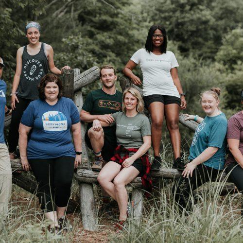 happy people hike group