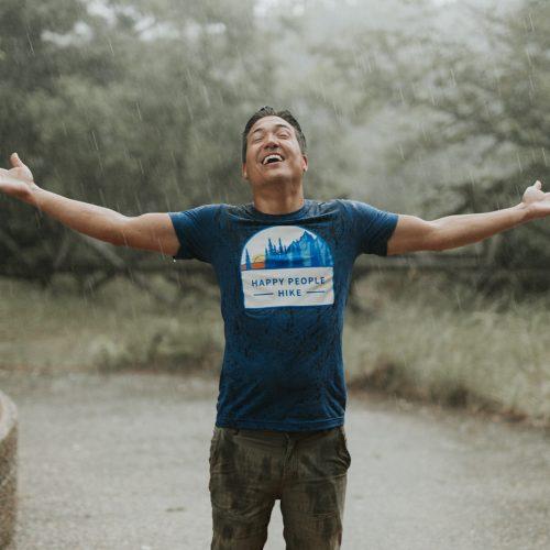 t-shirt model caught in the rain