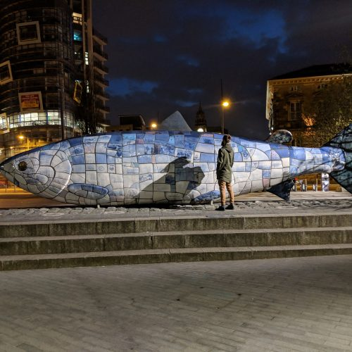 knowledge fish statue
