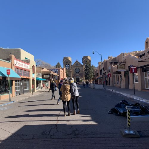 downtown street in santa fe, nm