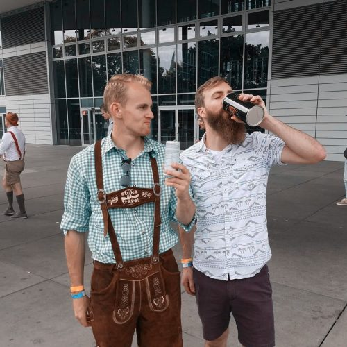 drinking road beers on the way to oktoberfest