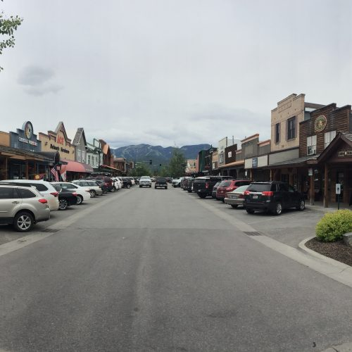 Street view in downtown Whitefish, Montana