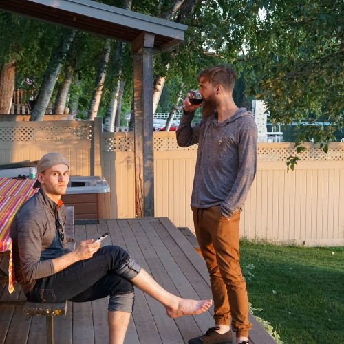 two guys drinking wine in Montana