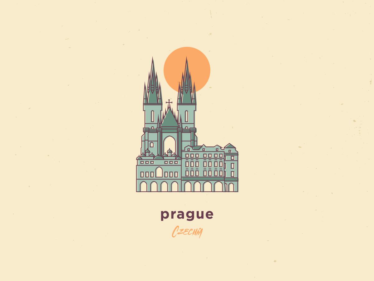 my illustration of prague, czech republic