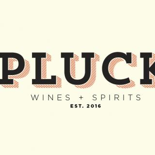 pluck wines + spirits logo concept
