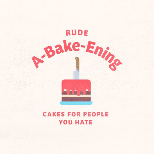 made up logo for rude a-bake-ening